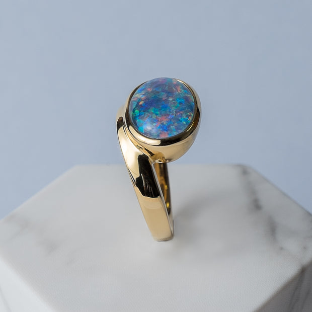 Kosmos Opal Cocktail Ring in Yellow Gold Plated Sterling Silver