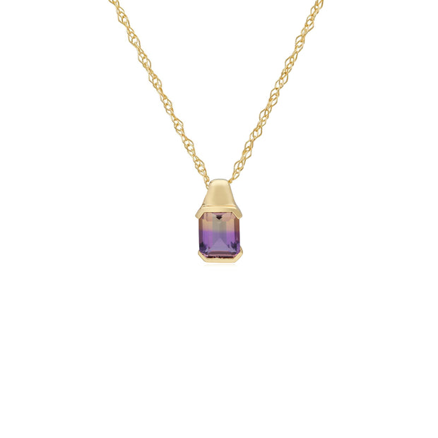 Kosmos Ametrine Square Pendant in 9ct Yellow Gold