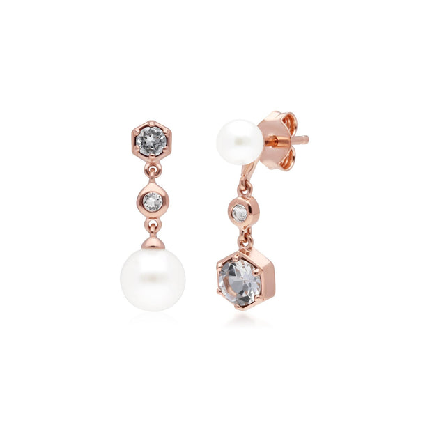 Modern Pearl, White Topaz Mismatched Drop Earrings in Rose Gold Plated Sterling Silver