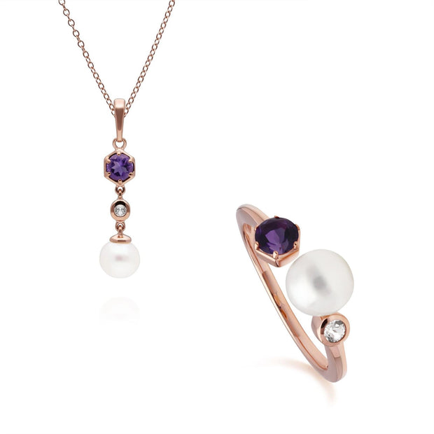 Modern Pearl, Amethyst & Topaz Pendant & Ring Set in Rose Gold Plated Sterling Silver