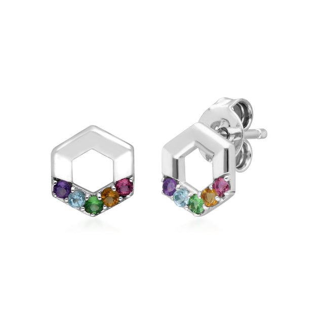Rainbow Hexagon Stud Earrings in Sterling Silver