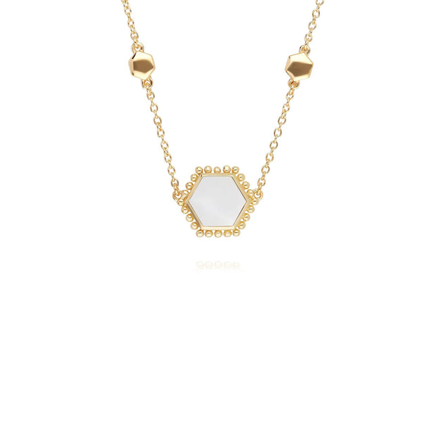 Mother of Pearl Flat Slice Hex Necklace in Gold Plated Sterling Silver