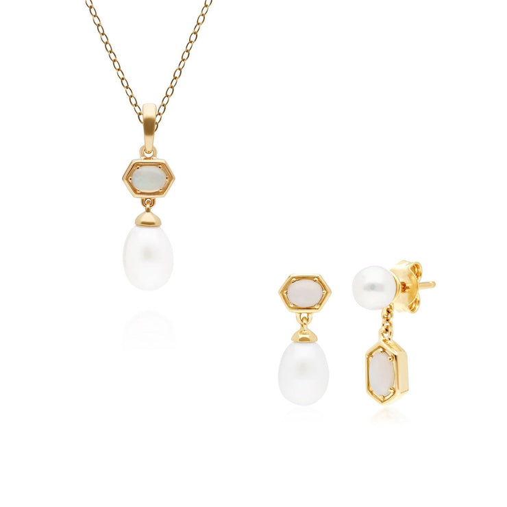 Modern Pearl & Opal Pendant & Earring Set in Gold Plated Sterling Silver