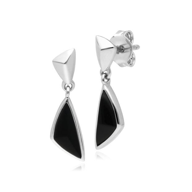 Micro Statement Black Onyx Drop Earrings in 925 Sterling Silver