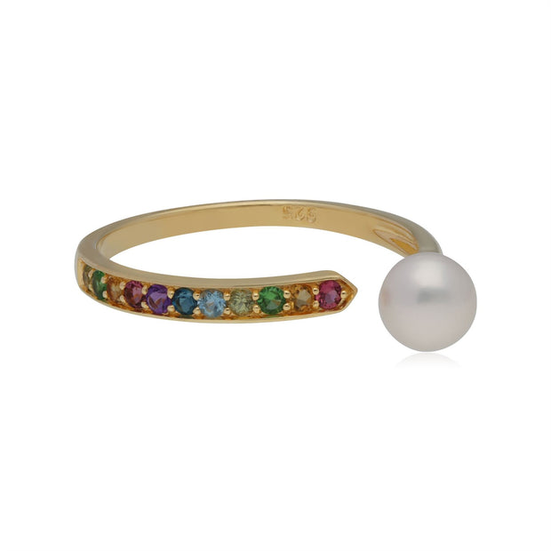 Rainbow Gemstone & Pearl Open Ring in Gold Plated Sterling Silver