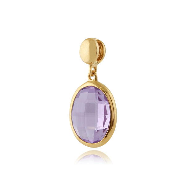 Amethyst Checkerboard 9ct Yellow Gold Oval Pendant on Chain