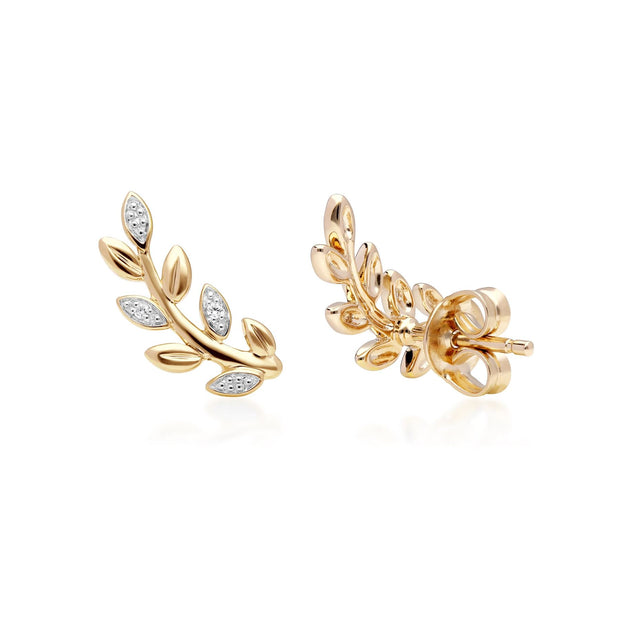 O Leaf Diamond Pave Stud Earrings in 9ct Yellow Gold