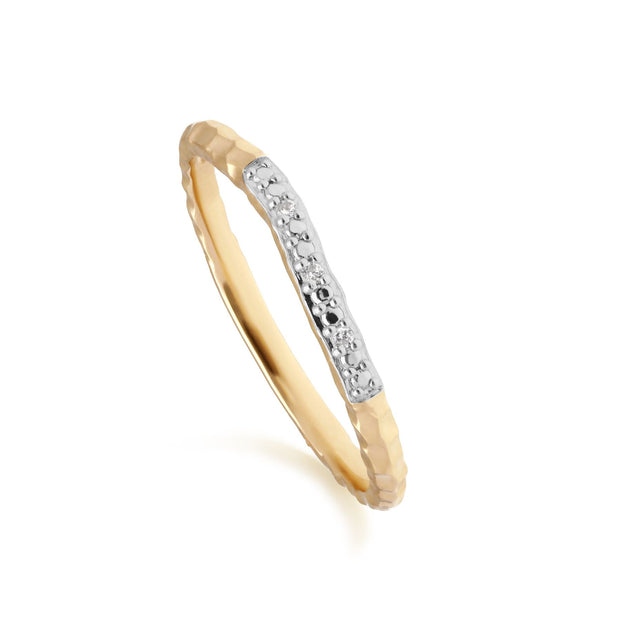 Diamond Pave Hammered  Band Ring in 9ct Yellow Gold