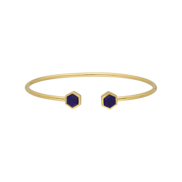 Geometric Hexagon Lapis Lazuli Bangle in Gold Plated Sterling Silver