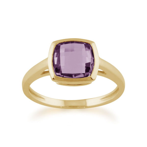 Square Checkerboard Amethyst 9ct Yellow Gold Ring