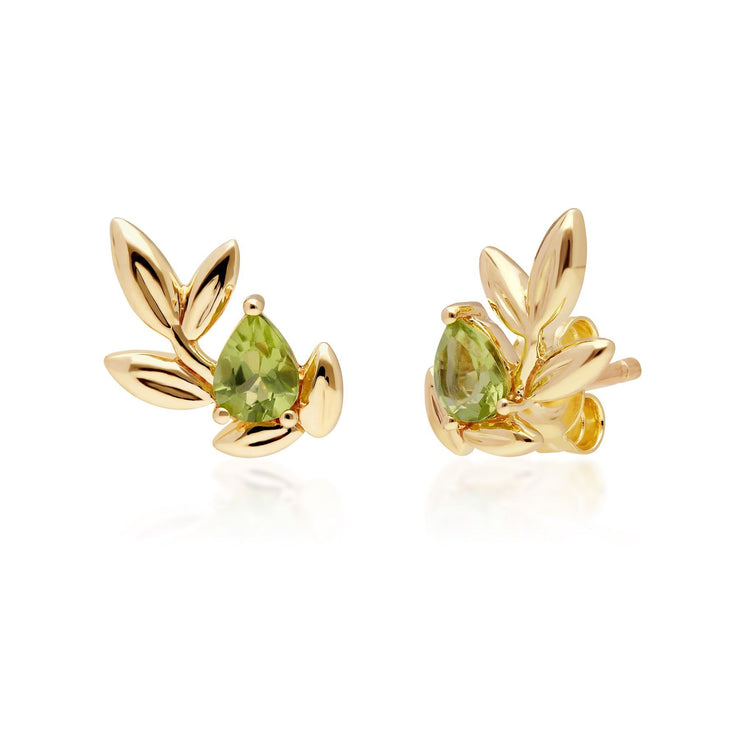 O Leaf Peridot Stud Earring & Ring Set in 9ct Yellow Gold