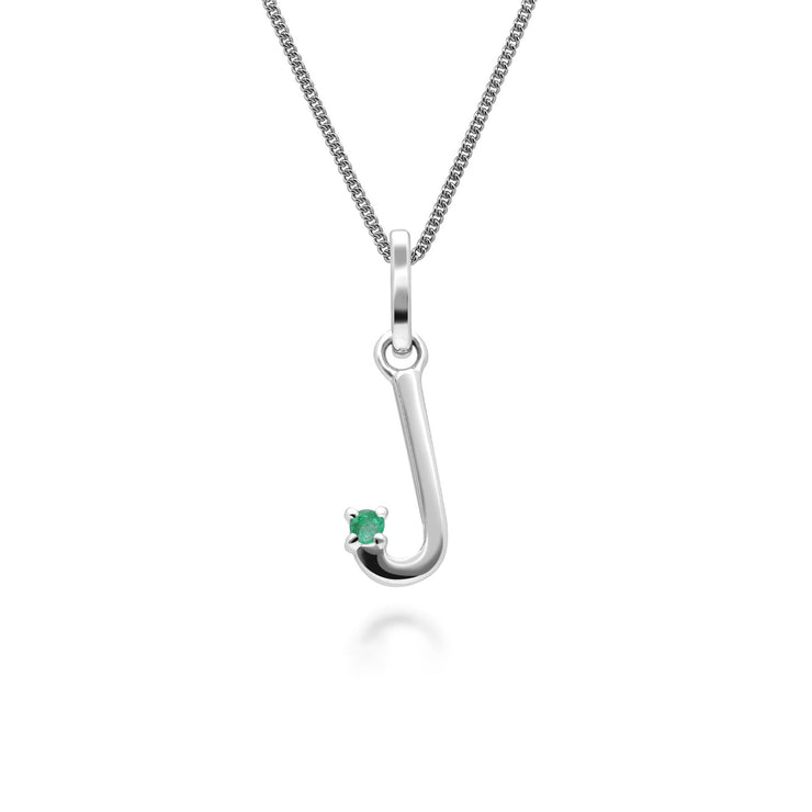 Initial J Emerald Letter Charm Necklace in 9ct White Gold