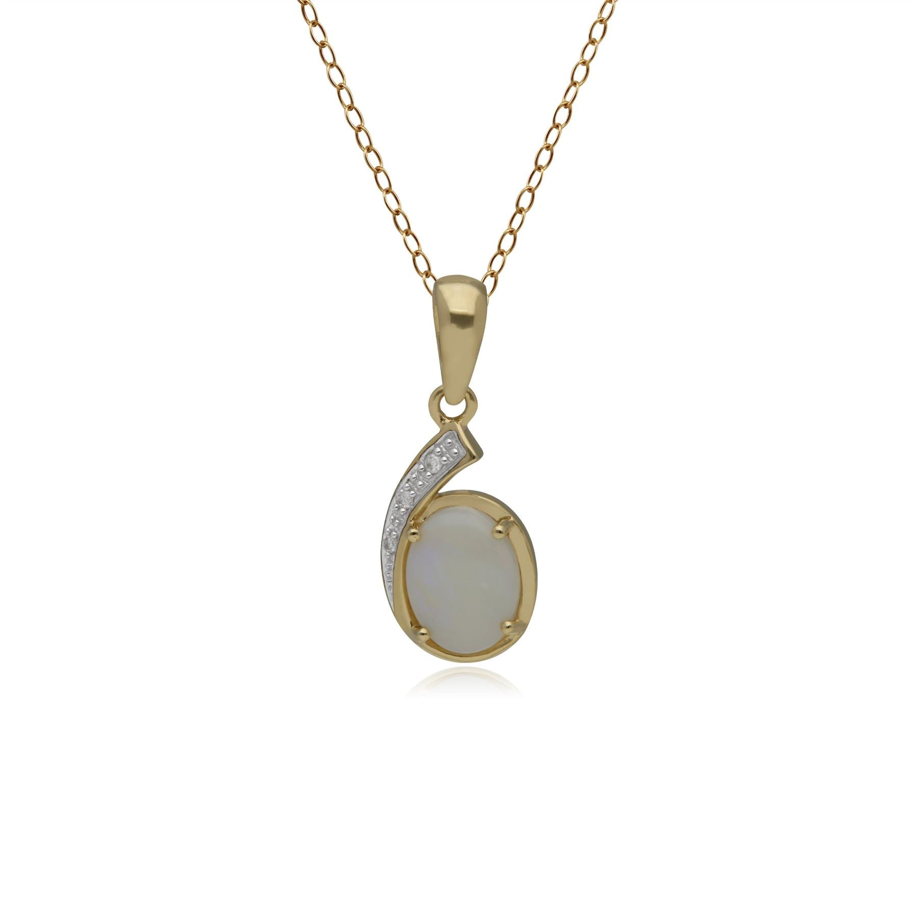Image of  			   			  			   			  9ct Yellow Gold 0.69ct Opal & 1.5pt Diamond Classic Pendant on 45cm Chain