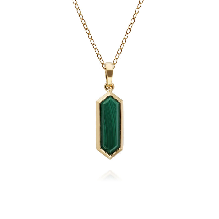 Geometric Hexagon Malachite Pendant in Gold Plated Sterling Silver
