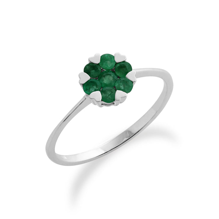 Gemondo Sterling Silver 0.18ct Heart Emerald Ring