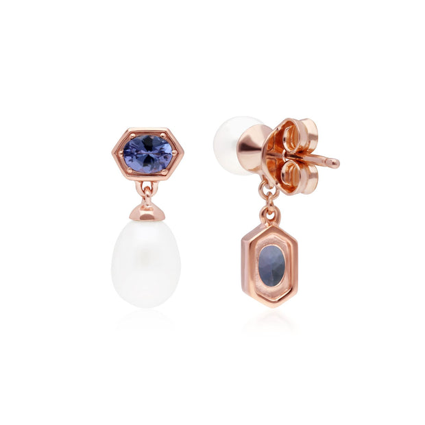 Modern Pearl & Tanzanite Mismatched Drop Earrings in Rose Gold Plated Sterling Silver