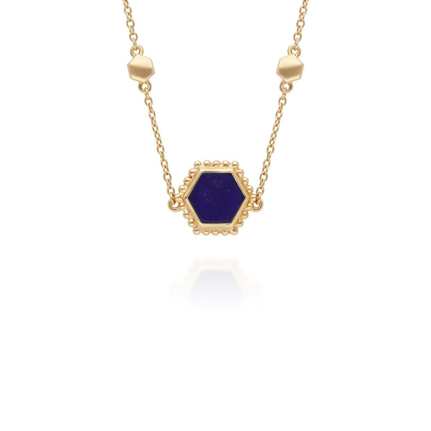 Lapis Lazuli Slice Chain Necklace in Yellow Gold Plated Sterling Silver