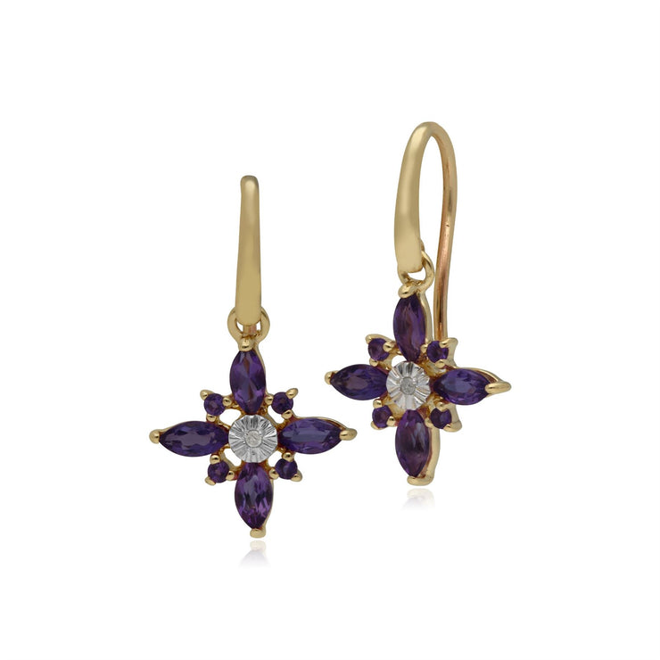 Amethyst & Diamond Starburst Earrings in 9ct Yellow Gold