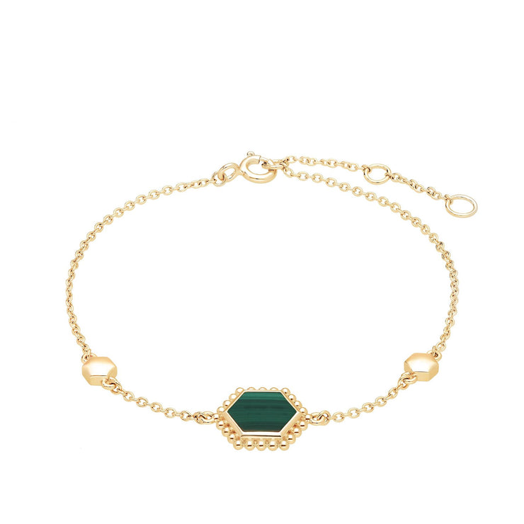 Malachite Flat Slice Hex Bracelet in Gold Plated Sterling Silver