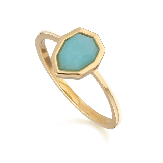 Irregular B Gem Blue Peru Amazonite Ring