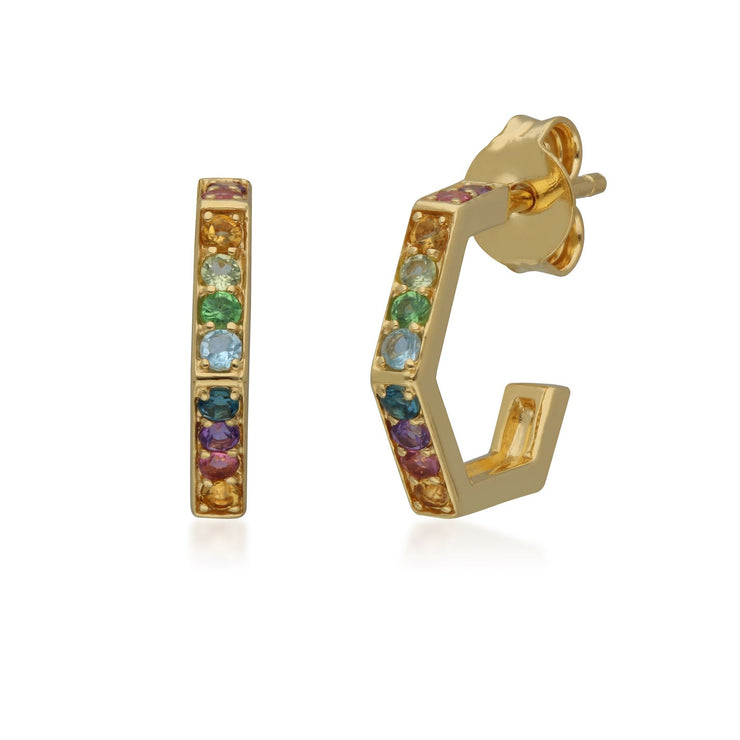 Rainbow Hexagon Hoop Earrings in Gold Plated Sterling Silver