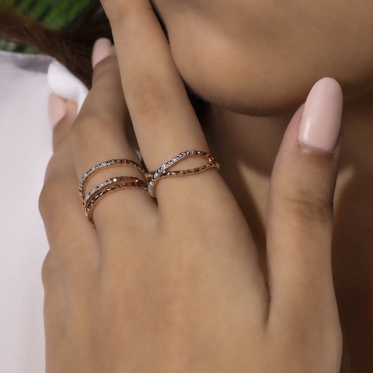 Diamond Pavé Hammered Crossover Rings on Model