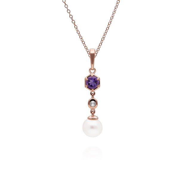 Modern Pearl, Amethyst & Topaz Drop Pendant in Gold Plated Sterling Silver