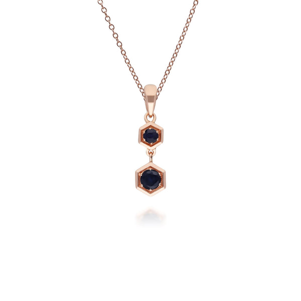 Gemondo Honeycomb Inspired Sapphire Pendant Necklace in 9ct Rose Gold