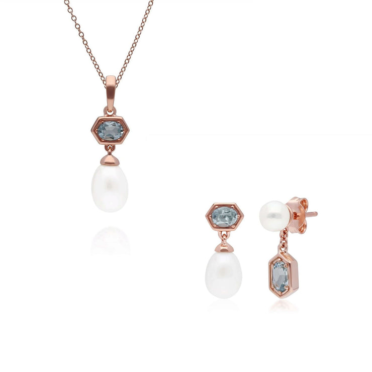 Modern Pearl & Aquamarine Pendant & Earring Set in Rose Gold Plated Sterling Silver