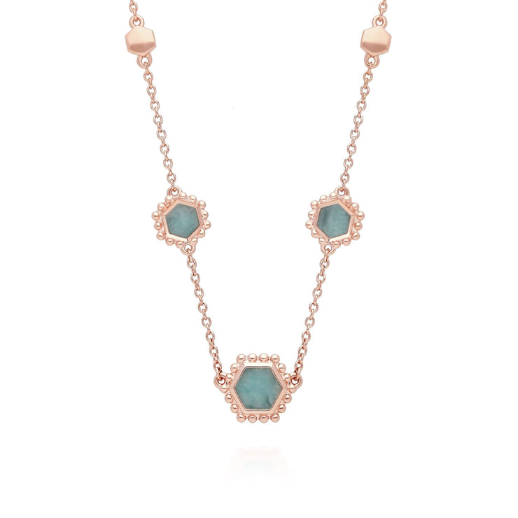 Amazonite Flat Slice Hex Chain Necklace in Rose Gold Plated Sterling Silver