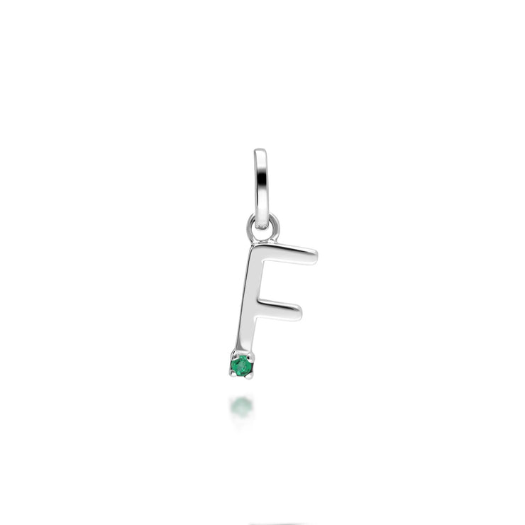 Initial F Emerald Letter Charm in 9ct White Gold