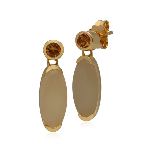Kosmos Opal & Citrine Oval Shaped Drop Earrings In Gold Plated Sterling Silver