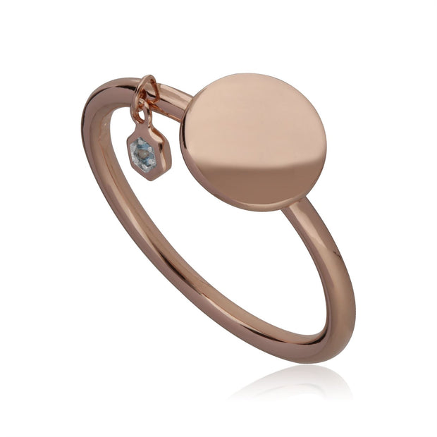 Aquamarine Engravable Ring in Rose Gold Plated Sterling Silver
