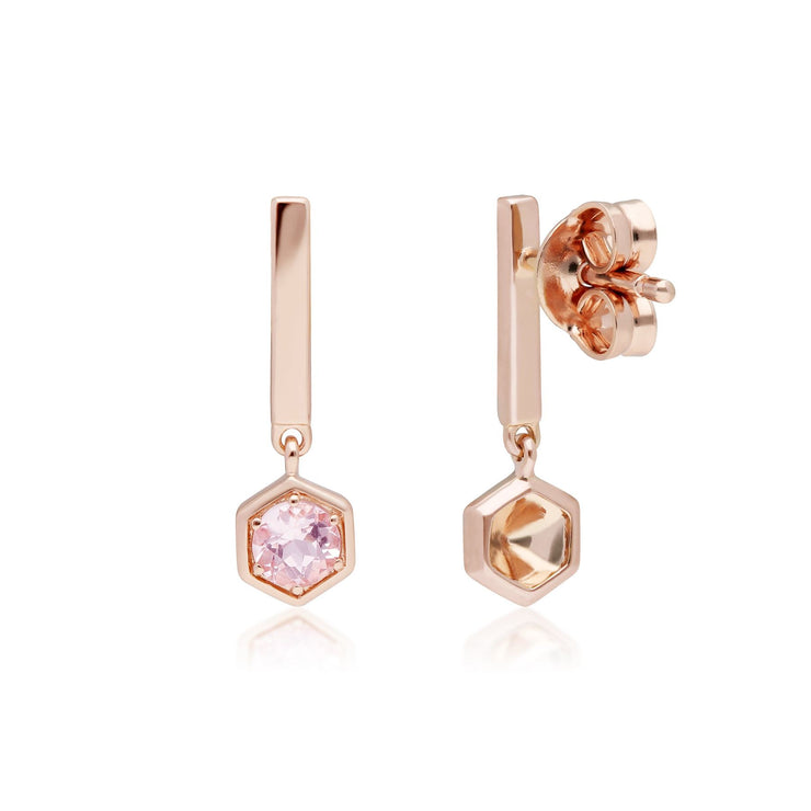 Gemondo Micro Statement Mismatched Morganite & Diamond Drop Earrings in 9ct Rose Gold