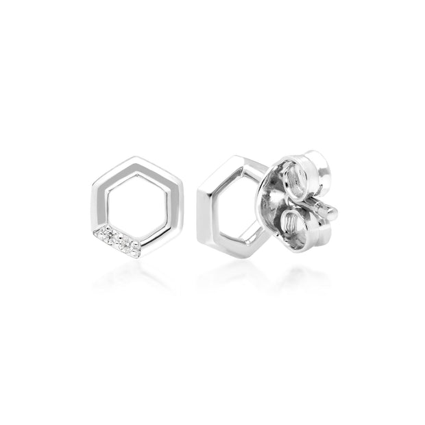 Diamond Pave Hexagon Stud Earrings in 9ct White Gold