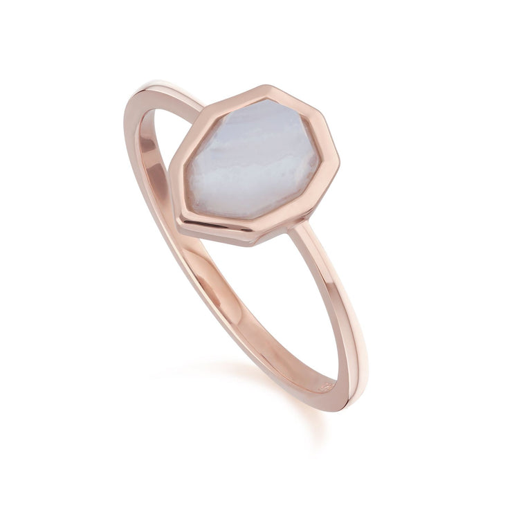 Irregular B Gem Blue Lace Agate Ring in Rose Gold Plated Sterling Silver Side