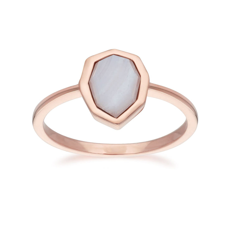 Irregular B Gem Blue Lace Agate Ring in Rose Gold Plated Sterling Silver Front