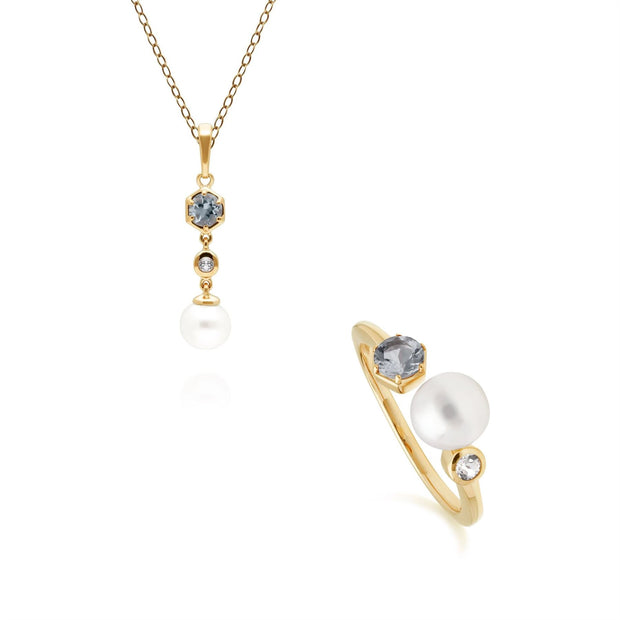 Modern Pearl, Topaz & Aquamarine Ring & Pendant Set in Gold Plated Sterling Silver
