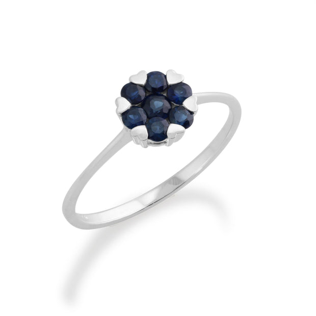 Gemondo  Sterling Silver Heart Details Sapphire Ring