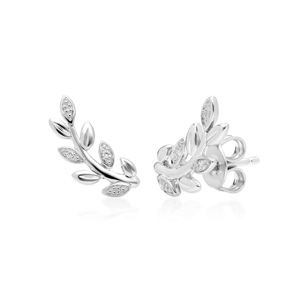 Olive branch Leaf Diamond Pave Stud Earrings in 9ct White Gold