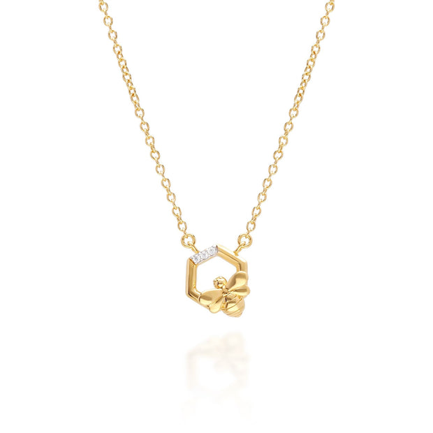 Yellow Gold Hexagon Bee Necklace