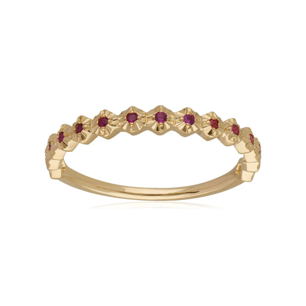 9ct Yellow Gold 0.090ct Ruby Band Ring