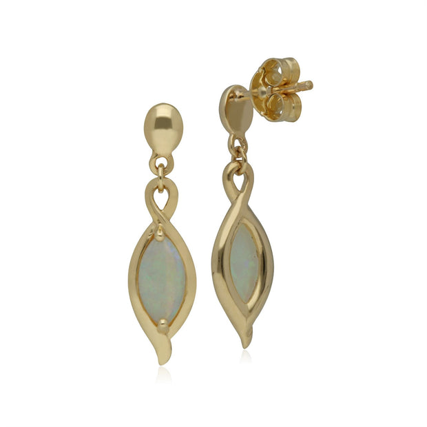 Classic Marquise Opal Drop Earrings in 9ct Yellow Gold