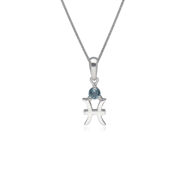 Aquamarine Pisces Zodiac Necklace in 9ct White Gold