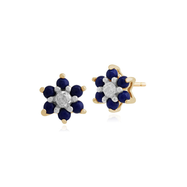 Floral Round Lapis Lazuli & Diamond Cluster Stud Earrings in 9ct Yellow Gold