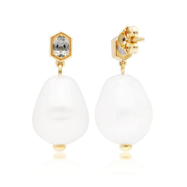 Modern Baroque Pearl & White Topaz Drop Earrings in Gold Plated Sterling Silver