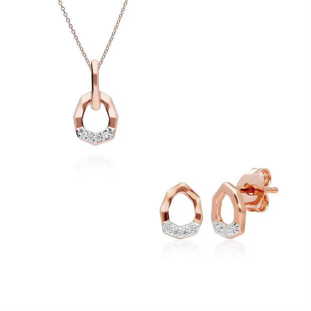 Diamond Pave Asymmetrical Pendant & Stud Earring Set in 9ct Rose Gold