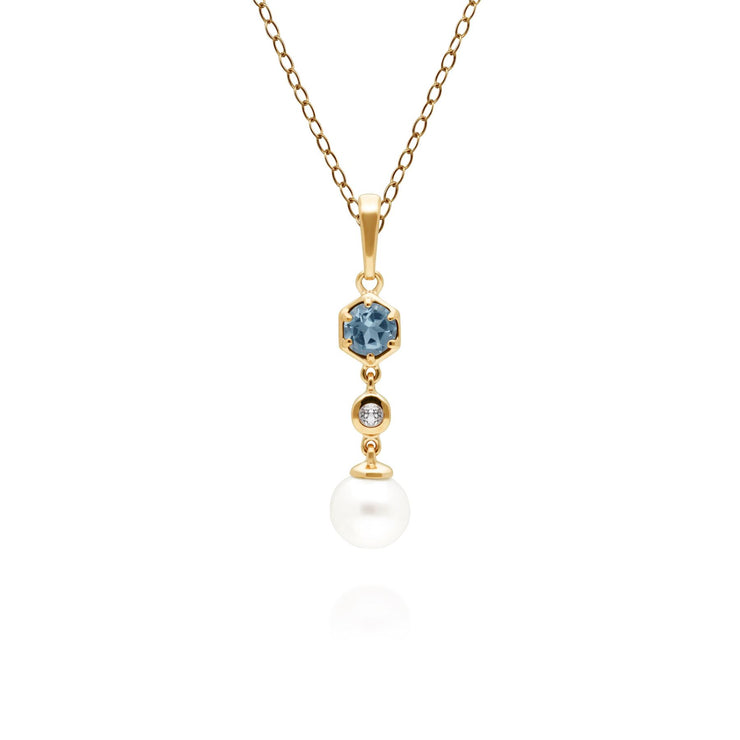 Modern Pearl & Topaz Drop Pendant in Gold Plated Sterling Silver