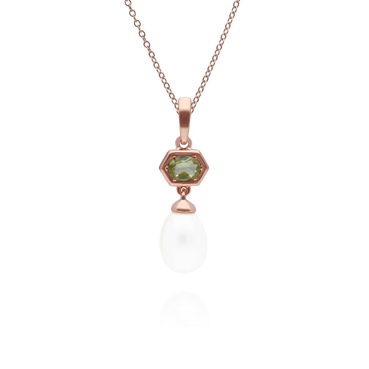 Modern Pearl & Peridot Hexagon Drop Pendant in Rose Gold Plated Sterling Silver