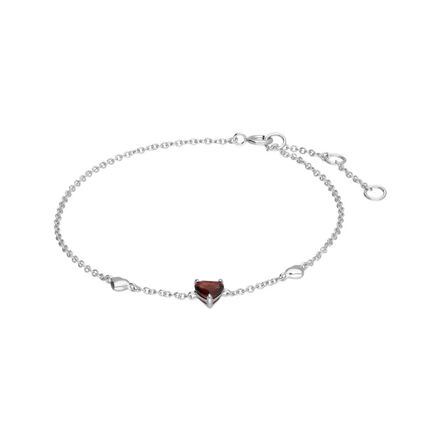 Red Garnet Gemstone Love Heart Bracelet in 9ct White Gold